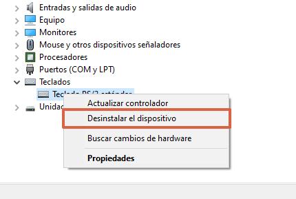 Revisar los drivers para comprobar el funcionamiento del teclado en Windows paso 3