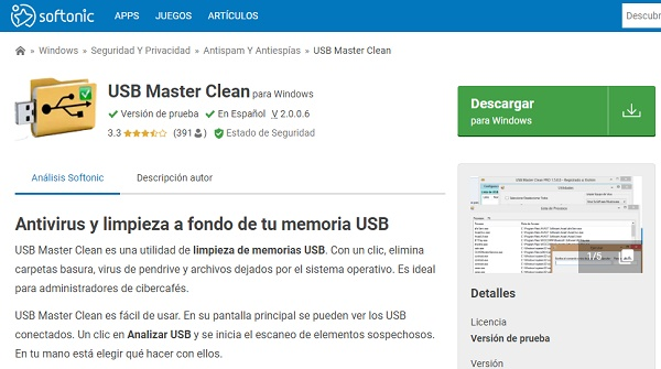 USB Master Clean para pendrive o memoria USB