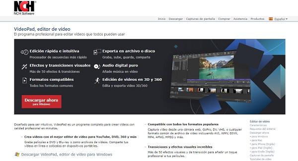 VideoPad como programa para hacer o editar videos