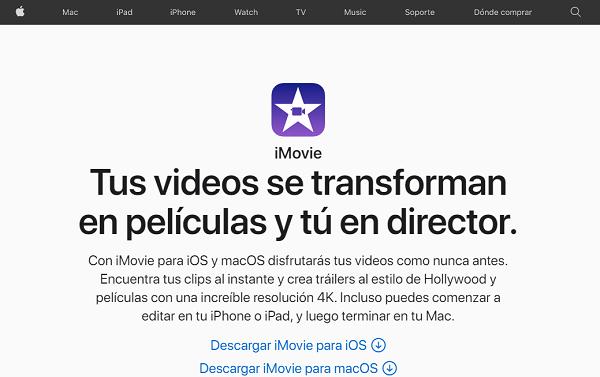 iMovie como programa para hacer o editar videos