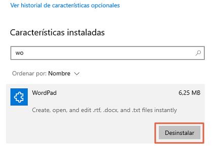 Cómo desinstalar WordPad en Windows 10 paso 4