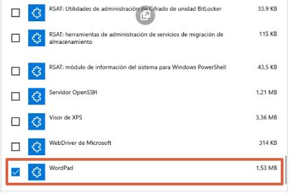 Cómo instalar WordPad en Windows 10 paso 5