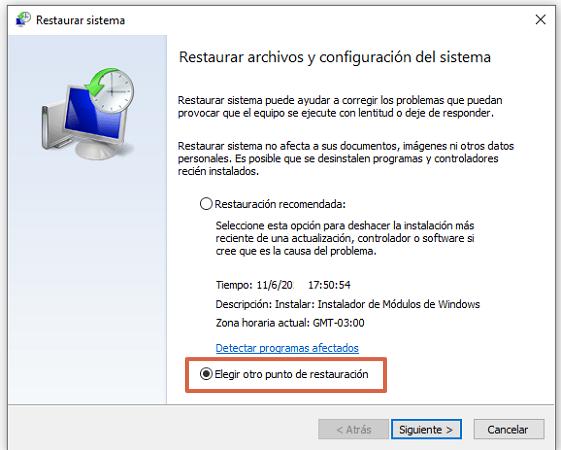 Error 43 de solicitud de descriptor de dispositivo en Windows 10 causas y soluciones. Restaurar el Sistema2