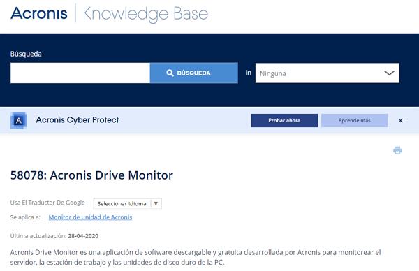 Acronis Drive Monitor como programa para analizar el disco duro