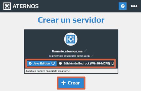 Activar servidor de Minecraft en Aternos paso 2