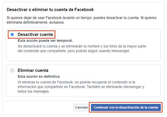 Cómo eliminar definitivamente tu cuenta de Facebook. Desactivar tu cuenta de Facebook. Paso 7