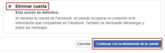 Cómo eliminar definitivamente tu cuenta de Facebook. Eliminar tu cuenta de Facebook. Paso 3