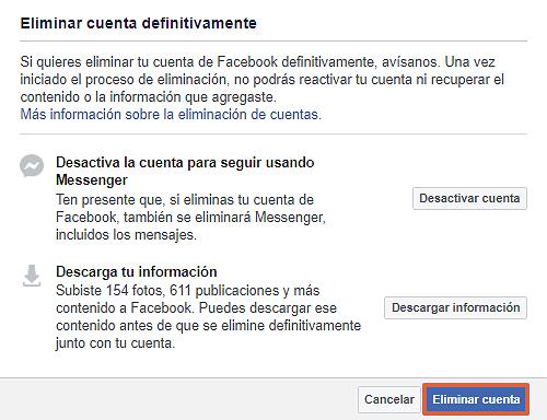Cómo eliminar definitivamente tu cuenta de Facebook. Eliminar tu cuenta de Facebook. Paso 4