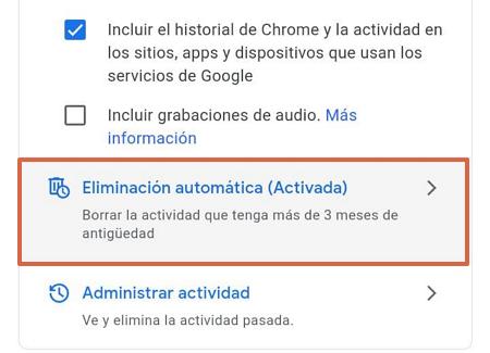 Cómo eliminar el historial de navegación de Google Mi Actividad automáticamente paso 1