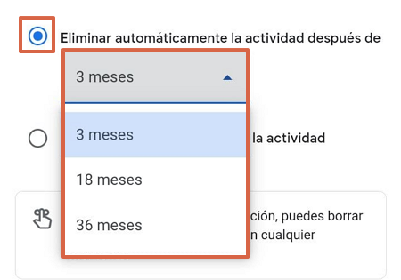 ómo eliminar el historial de navegación de Google Mi Actividad automáticamente paso 2