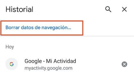 Cómo eliminar todo el historial de navegación de Google Chrome en iOS o Android paso 1