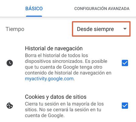 Cómo eliminar todo el historial de navegación de Google Chrome en iOS o Android paso 2