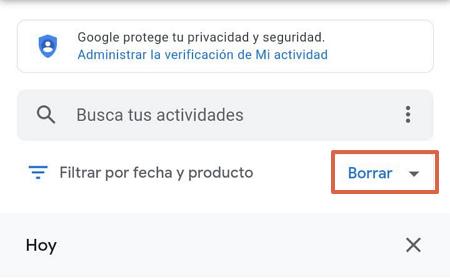 Cómo eliminar todo el historial de navegación de Google Mi Actividad paso 1