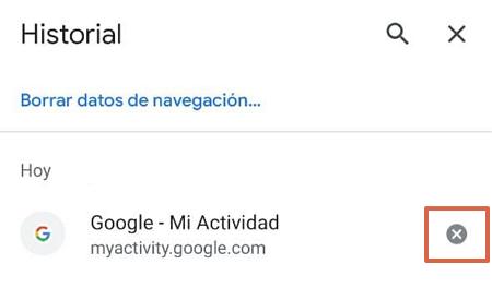 Cómo eliminar un elemento del historial de navegación de Google Chrome en el móvil