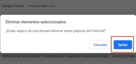 Cómo eliminar un elemento del historial de navegación de Google Chrome en la PC paso 3