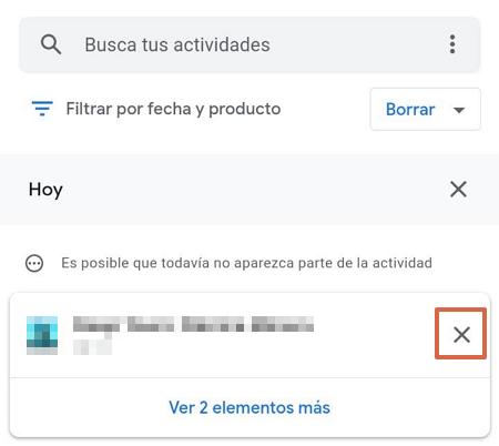 Cómo eliminar un elemento del historial de navegación de Google Mi Actividad