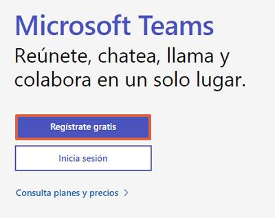 Cómo registrarse en Microsoft Teams desde el ordenador paso 1