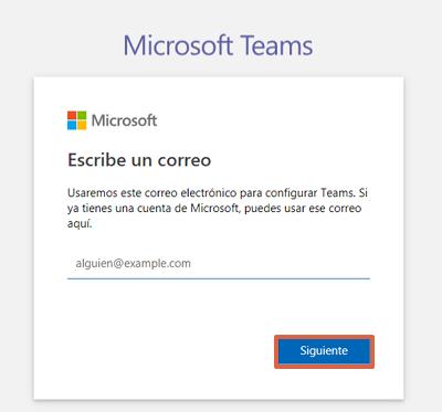Cómo registrarse en Microsoft Teams desde el ordenador paso 2