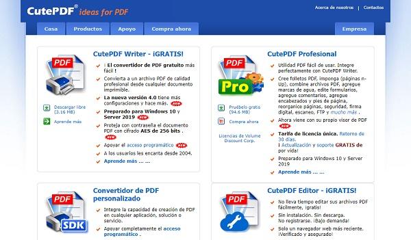 CutePDF como impresora PDF