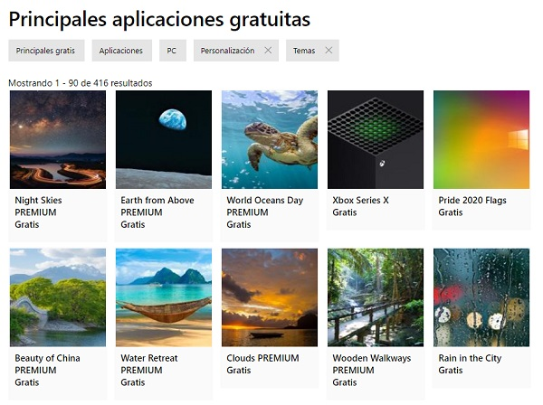 Fondos de pantalla de Windows 10... A través de Microsoft Store