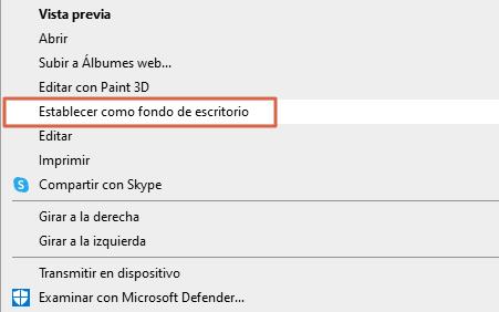 Fondos de pantalla de Windows 10... Cómo poner un fondo diferente. Desde la propia imagen. Paso 3...