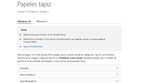 Fondos de pantalla de Windows 10... Mediante el propio soporte