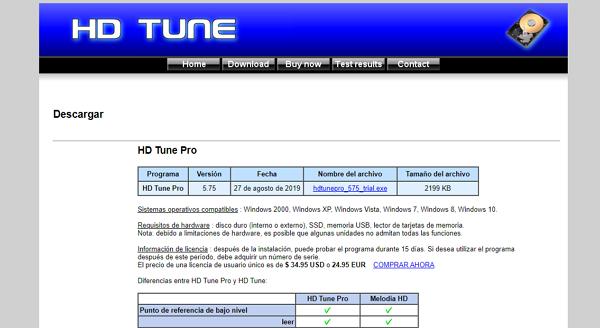 HD Tune como programa para analizar el disco duro