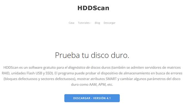 HDDScan como programa para analizar el disco duro