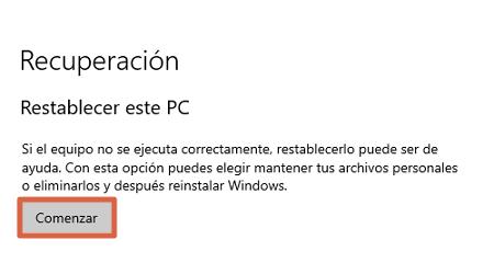 restablecer windows 10 recupera el estado original sin perder archivos desde las configuraciones paso 3