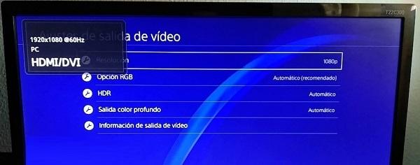 Cambiar la resolución de la pantalla manualmente en PS4