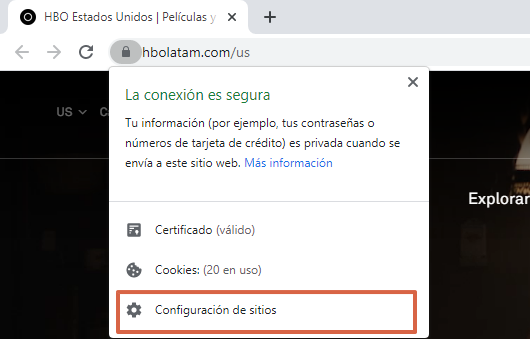 Cómo activar Adobe Flash para ver HBO desde las configuraciones del sitio web paso 3