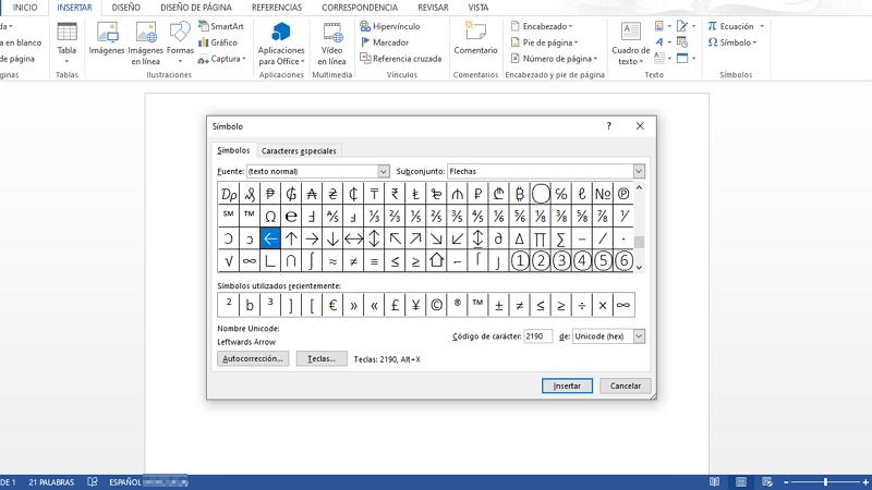 Cómo hacer flechas curvas, rectas e inclinadas en Word con el teclado