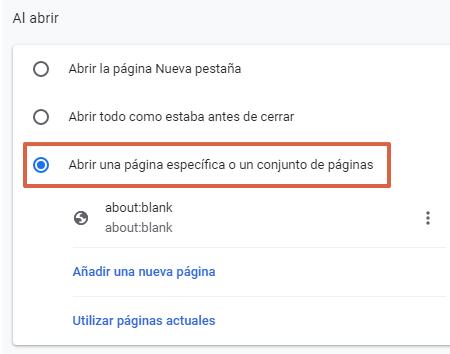 Aboutblank en Chrome qué es y para qué sirve. Configurar aboutblank como página de inicio. Paso 2