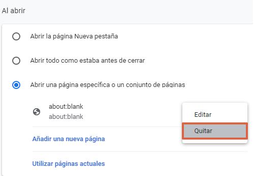 Aboutblank en Chrome qué es y para qué sirve. Sustituirlo por otra página. Paso 2