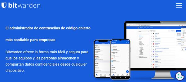 Aplicaciones y sitios web para administrar cuentas y contraseñas. Bitwarden