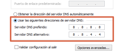 Cambiar el DNS automático y colocarlo manualmente para solucionar problemas de conexión paso 5