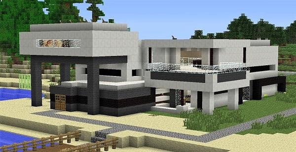 Casa moderna de hormigon en Minecraft