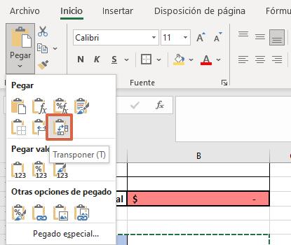 Cómo cambiar filas por columnas en Excel paso 3