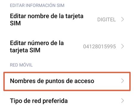 Cómo configurar APN Digitel en Android paso 4