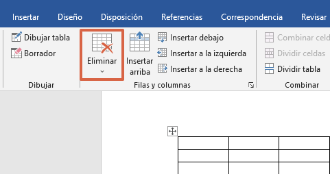 Cómo eliminar celdas, columnas y filas de una tabla en Word con las herramientas de tabla paso 4