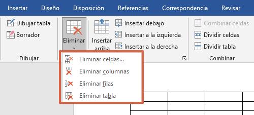 Cómo eliminar celdas, columnas y filas de una tabla en Word con las herramientas de tabla paso 5
