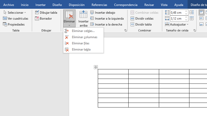 Cómo eliminar celdas, columnas y filas de una tabla