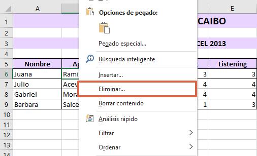Cómo eliminar celdas, columnas y filas en Excel haciendo clic derecho paso 2