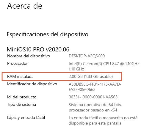 """Comprobar memoria RAM A través de la opción """"Acerca de tu PC"""". Paso 2"""