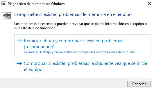 Comprobar memoria RAM realizar test para A través del Diagnóstico de memoria de Windows. Paso 2