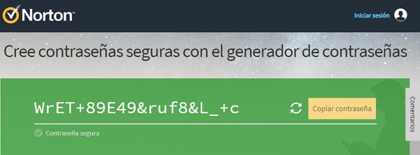Generadores de contraseñas online. Norton Password Generator