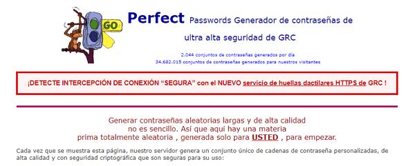 Generadores de contraseñas online. Perfect Passwords