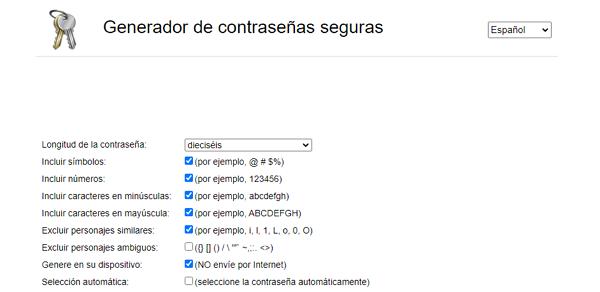 Generadores de contraseñas online. Secure Password Generator