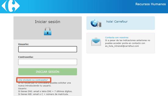 Cómo recuperar la contraseña en el portal de Carrefour paso 1