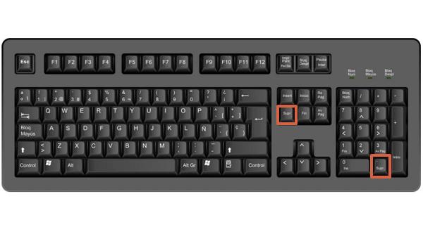 Tecla DelSupr en un teclado español